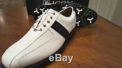 2014 Footjoy FJ ICON Mens Golf Shoes 52070 NEW White/Black 9.5M New withBox