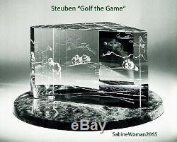 BIG NEW in BOX STEUBEN glass GOLF THE GAME ornament putter wedge sculpture art