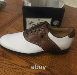 Footjoy Icon Black 9m Mens Golf Shoes 52006. White/brown Saddle. New In Box