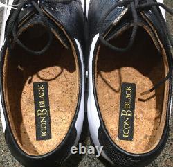 New In Box Footjoy Icon Black Golf Shoes Uk10 Wide Fit White/Black Lizard 52007K