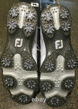 New With Box Footjoy Dryjoys Tour Golf Shoes White/White Croc Size UK 11 M
