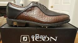 RARE Footjoy FJ ICON Mens Golf Shoes 52161 NEW withBox Blk/Brn Lizard 11M MINT